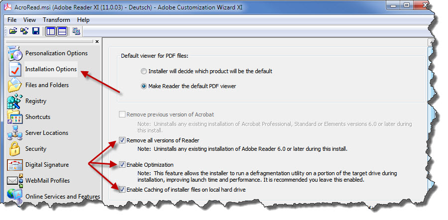 Adobe Installationspaket - Diverse Einstellungen