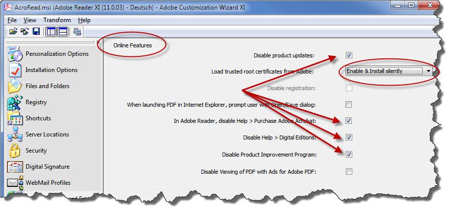 Adobe Installationspaket - Online Dienste und Updates