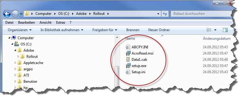 Adobe Reader Dateien nach dem Extrahieren