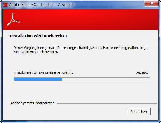 Installations Datei Adobe Reader extrahieren