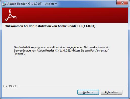 Adobe Setup Schritt 1