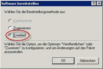"""Software bereitstellen """"Erweitert"""""""